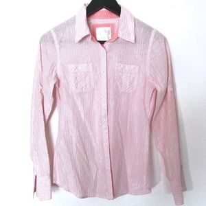 Justice Pink & Silver Metallic Button Up Shirt
